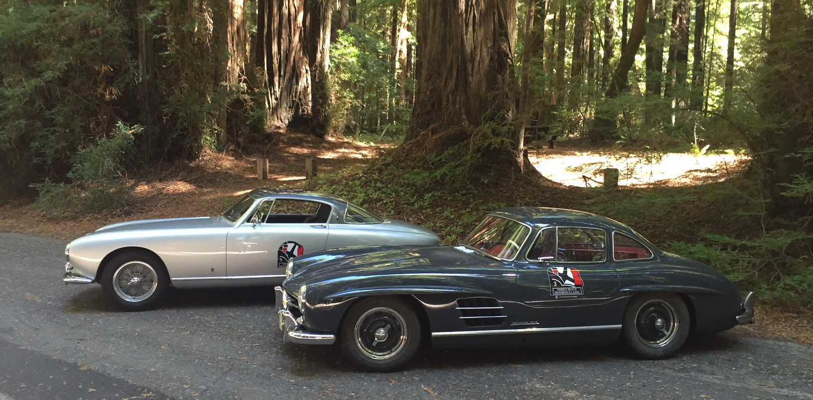 On the Pebble Beach Motoring Classic in our 1955 Mercedes-Benz 300 SL Gullwing along with a Ferrari 250 GT Europa