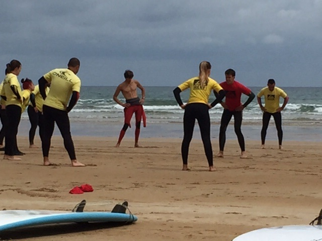 Learning how to surf.  Weird warm ups