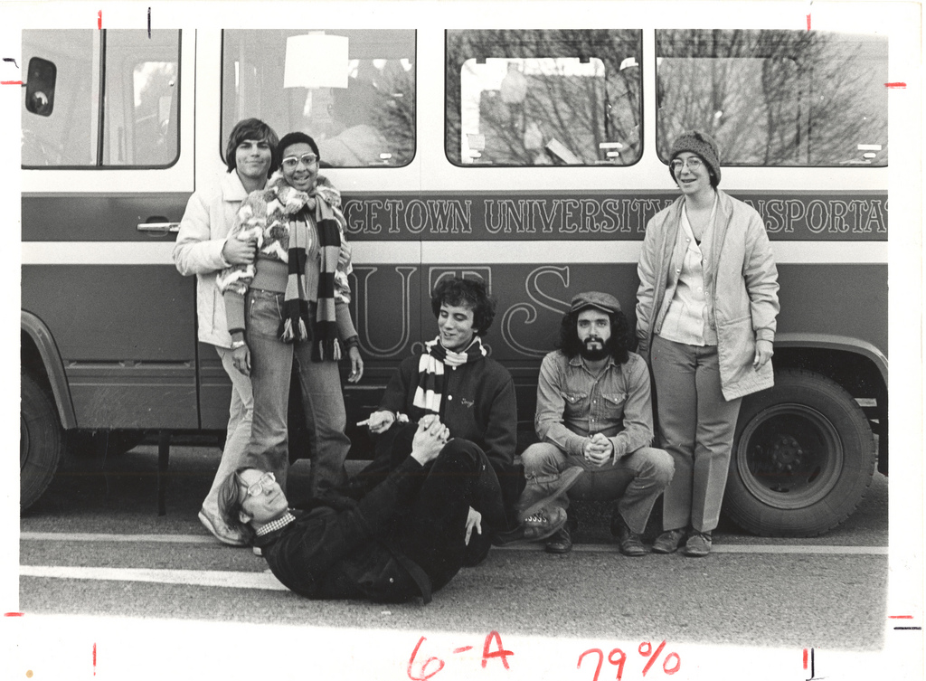 That's me on my back with the GUTS bus system I started at Georgetown.