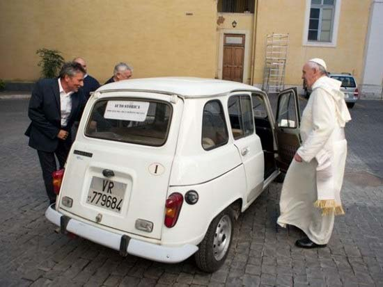 Pope Francis with his 20 year old Fiat.
