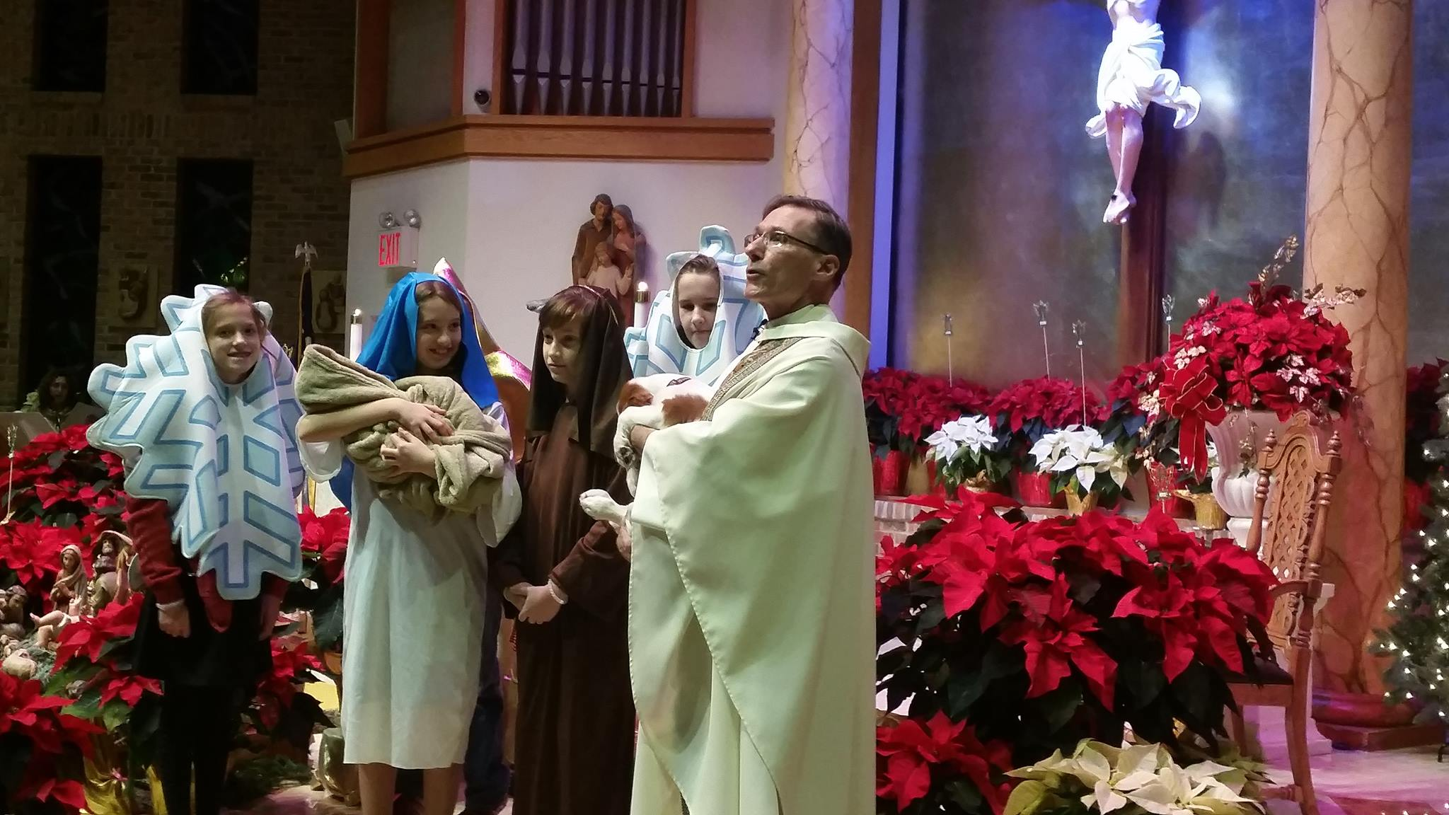 Christmas Mass with children and a dog