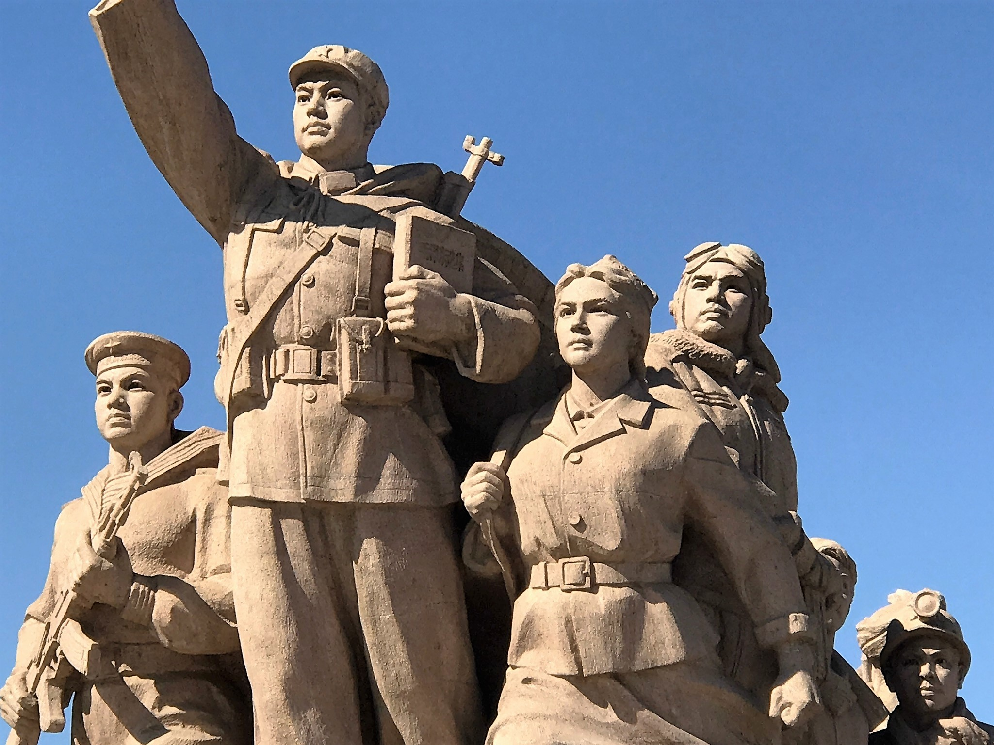 Heroic statues of the Proletariat in front of the Mausoleum