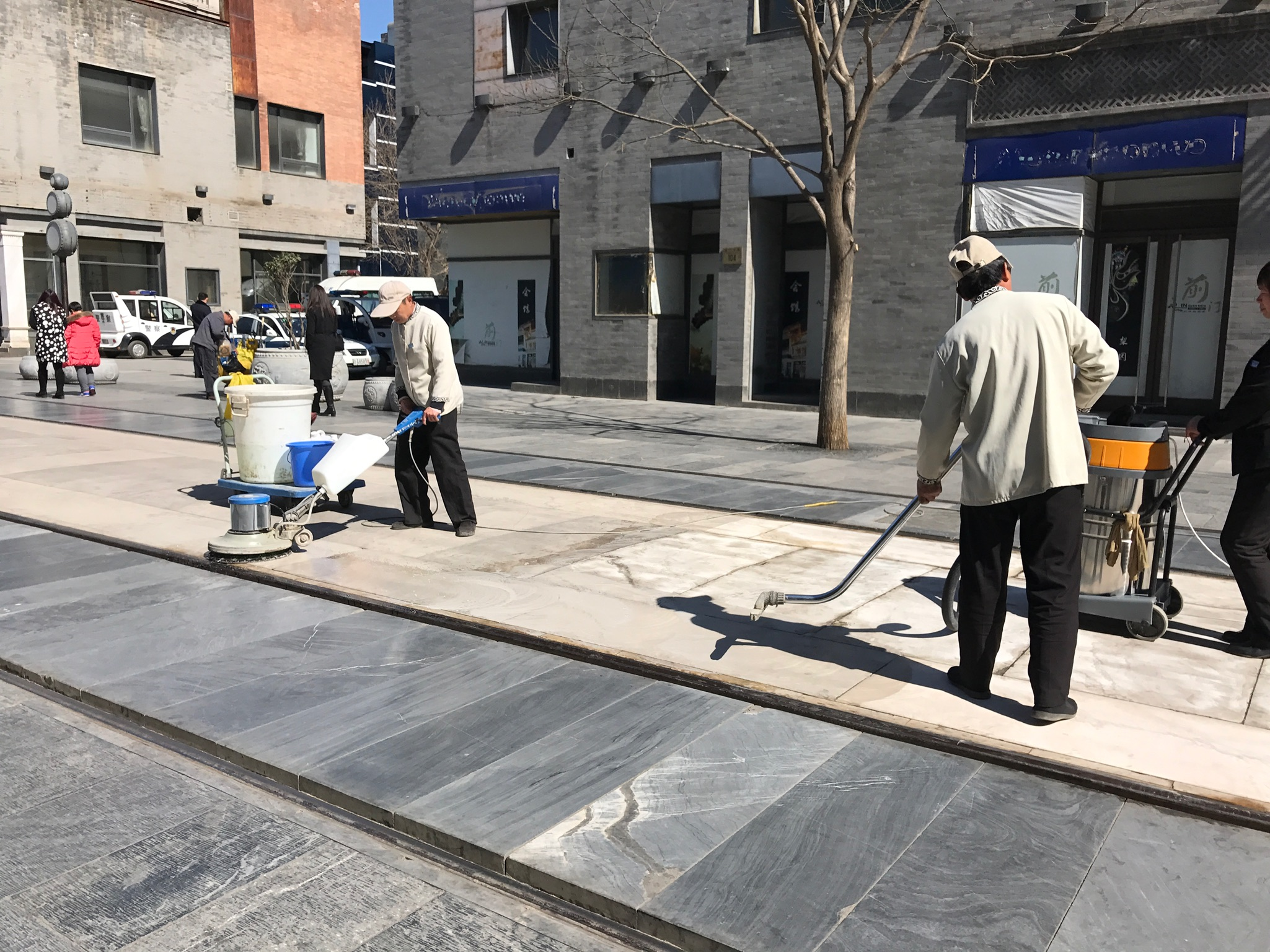 Buffing the pavement of outdoor mall