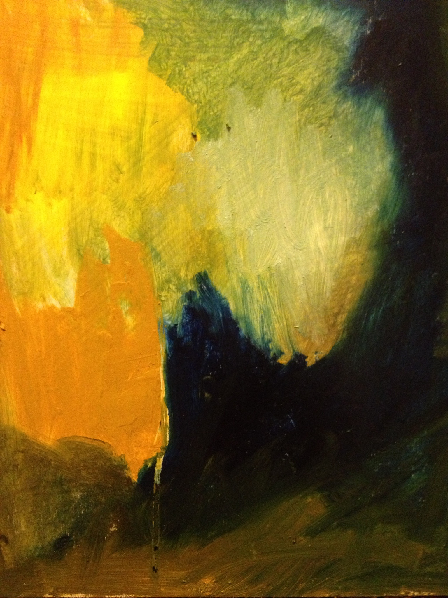 """Abstract  9""""x5"""" oil on wood SOLD"""