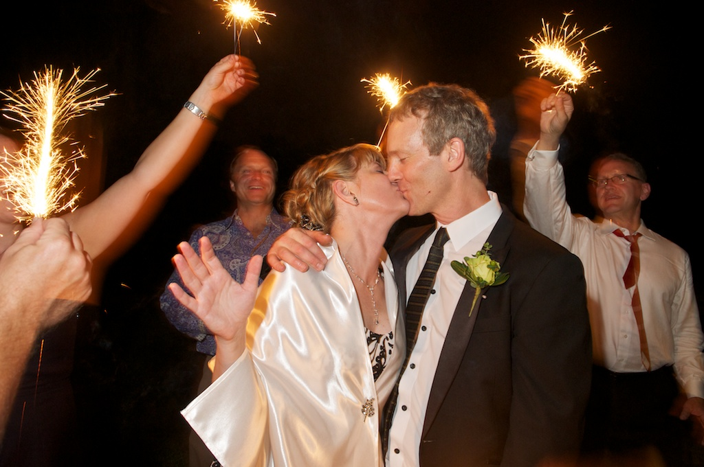 Wedding Kiss and Sparklers