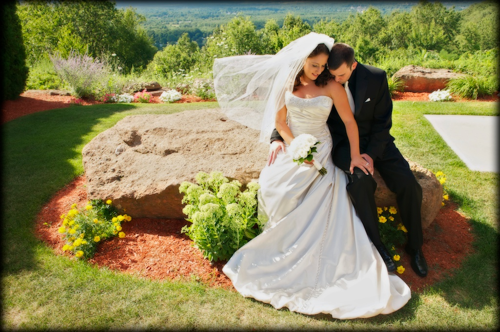 Bride and groom at the Log Cabin