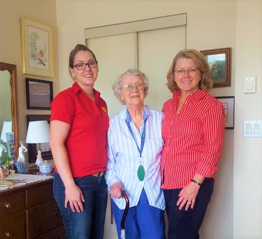 Vera and her daughter Dr.Lynn Tomkins with April after her new suite is setup and ready to be lived in!