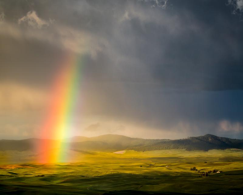 Rainbow over the farm fields of Palouse