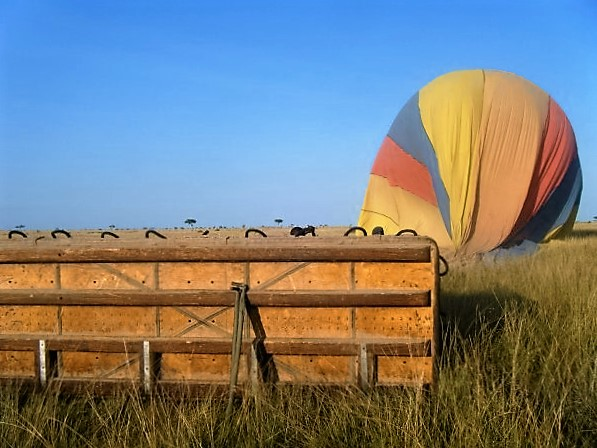 Hot air balloons usually tip over on landing. Not to worry! You'll just get a fun perspective of your Kenya safari experience!