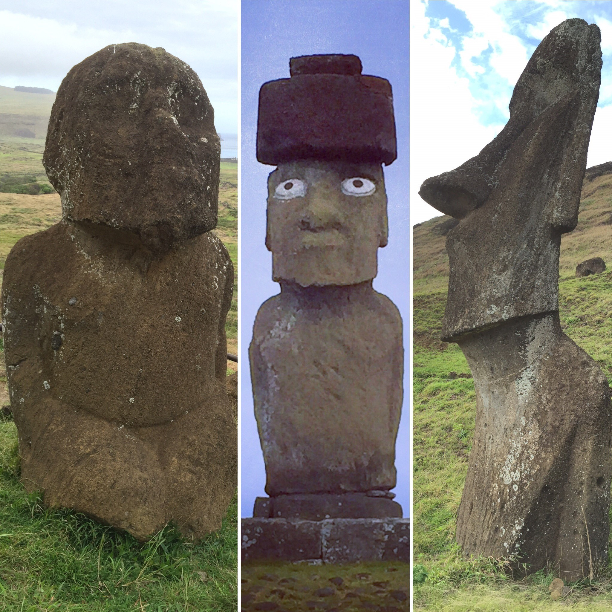 Evolution of the moai statues, from oldest and most primitive to a more evolved, leaner look.