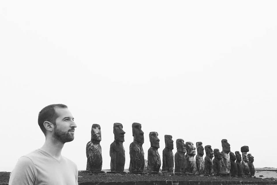 15 moai statues stand atop Ahu Tongariki, the largest platform on Rapa Nui.