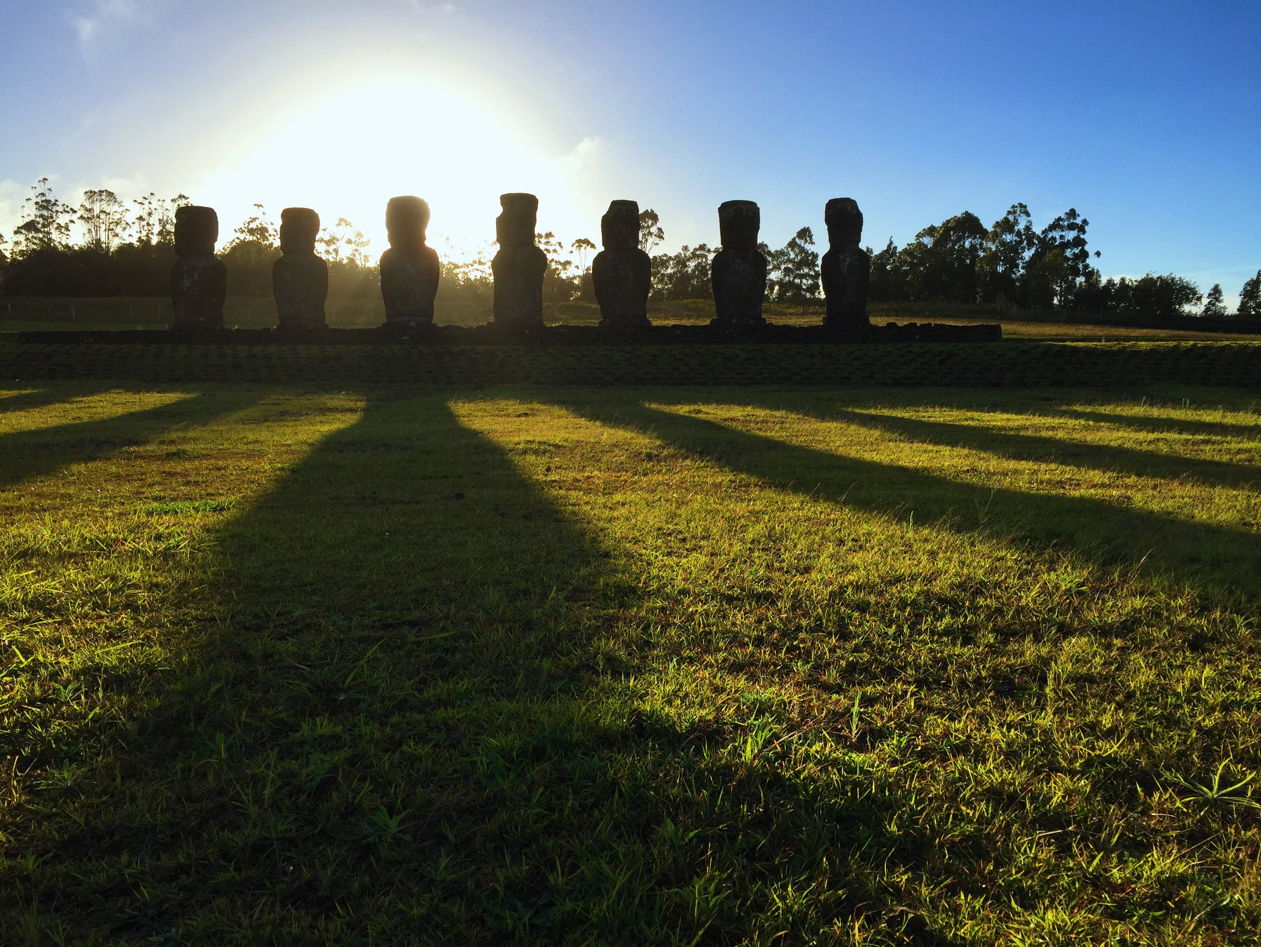 Ahu Akivi is a giant seasonal sundial, with its back to the sunrise on the Autumn Equinox and facing sunset on the Spring Equinox. It's also the only one that is inland and facing the sea.
