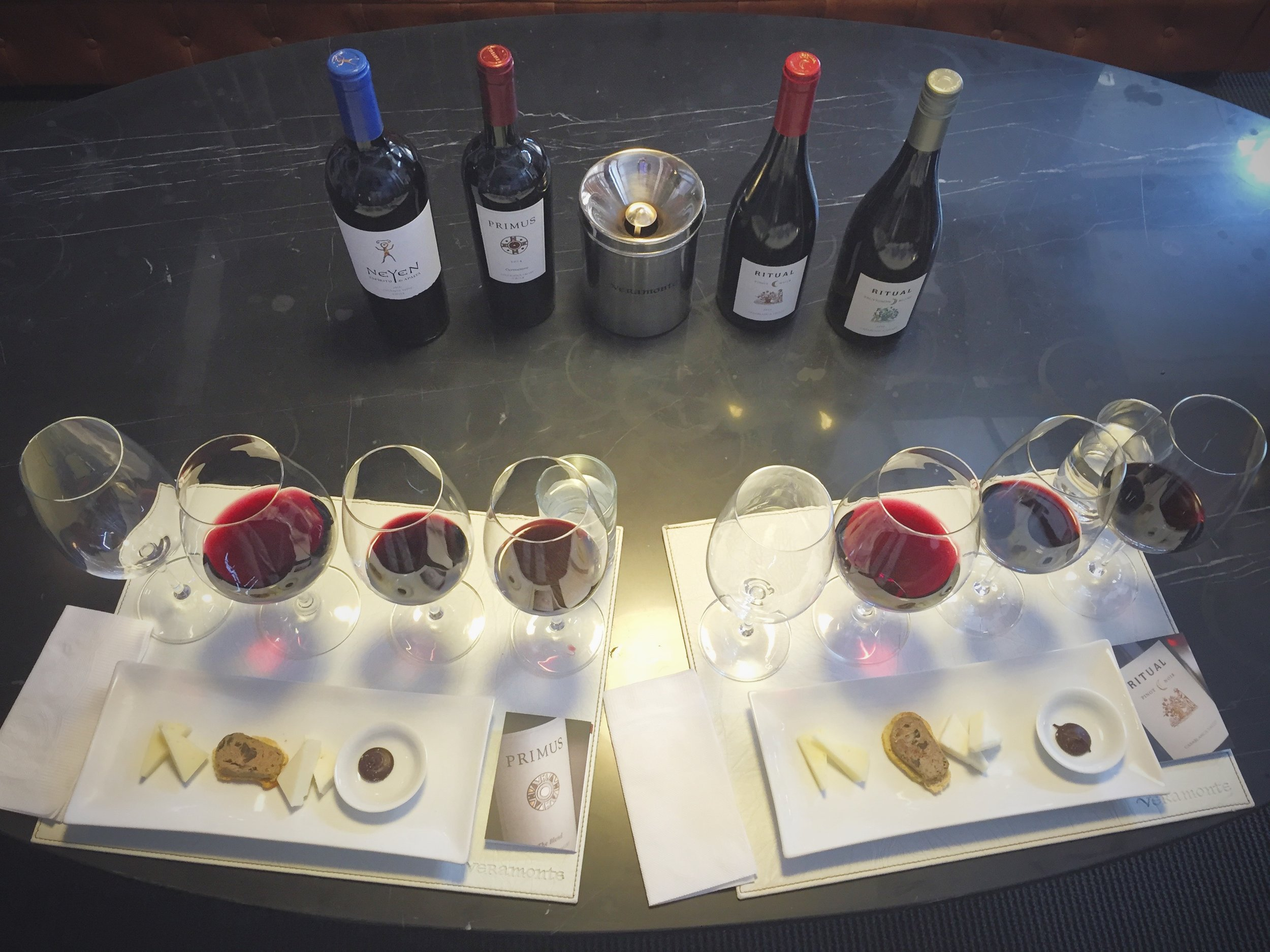 Wine loves food. At Viña Veramonte, savor the pairings of sauvignon blanc, pinot noir, Carmenere, and Carmenere/Cabernet blend with a sheep milk cheese, mushroom pate, semi-hard cheeses, and salted dark chocolate truffle, respectively.