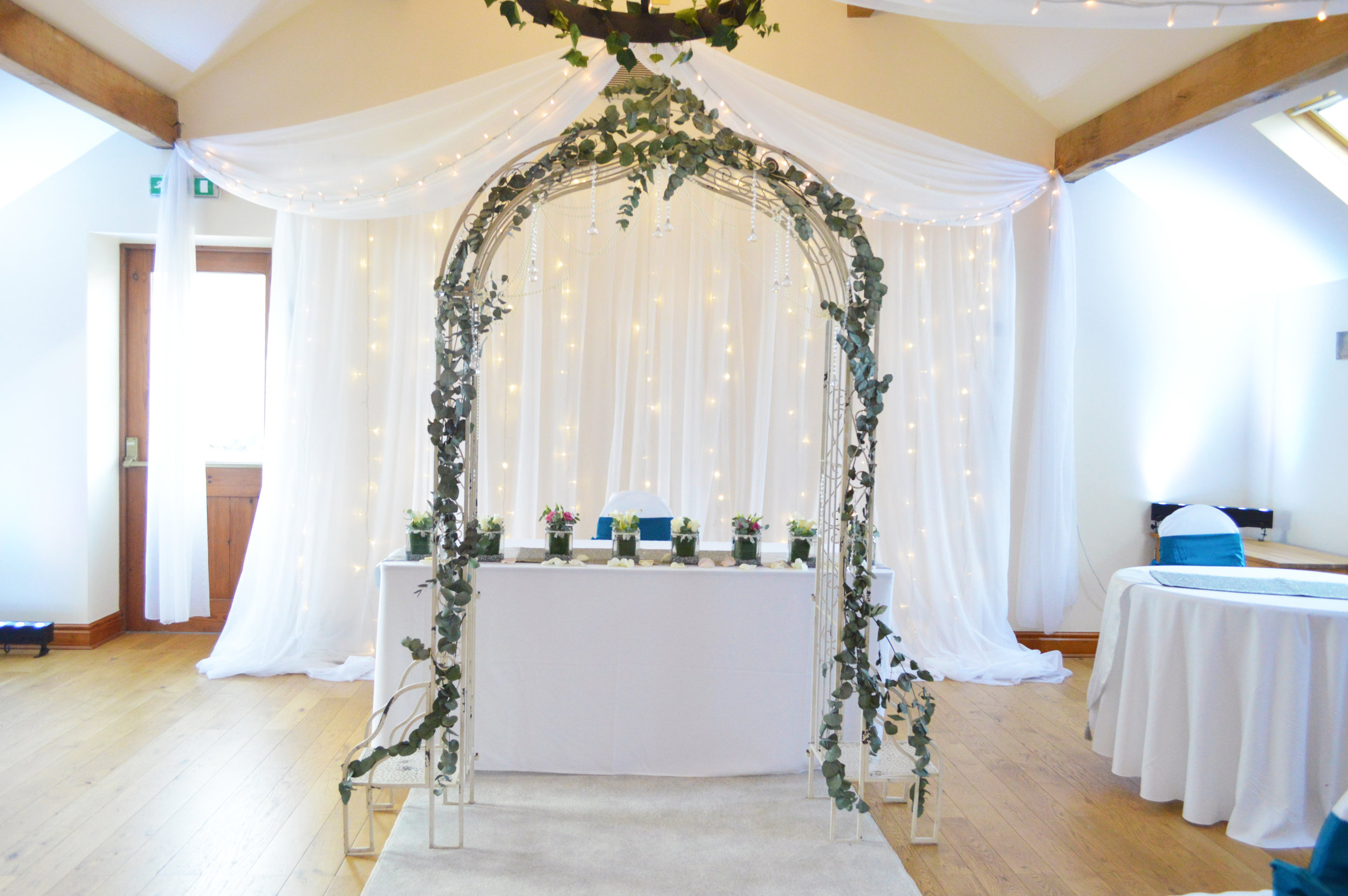 Arch way and fairy light backdrop