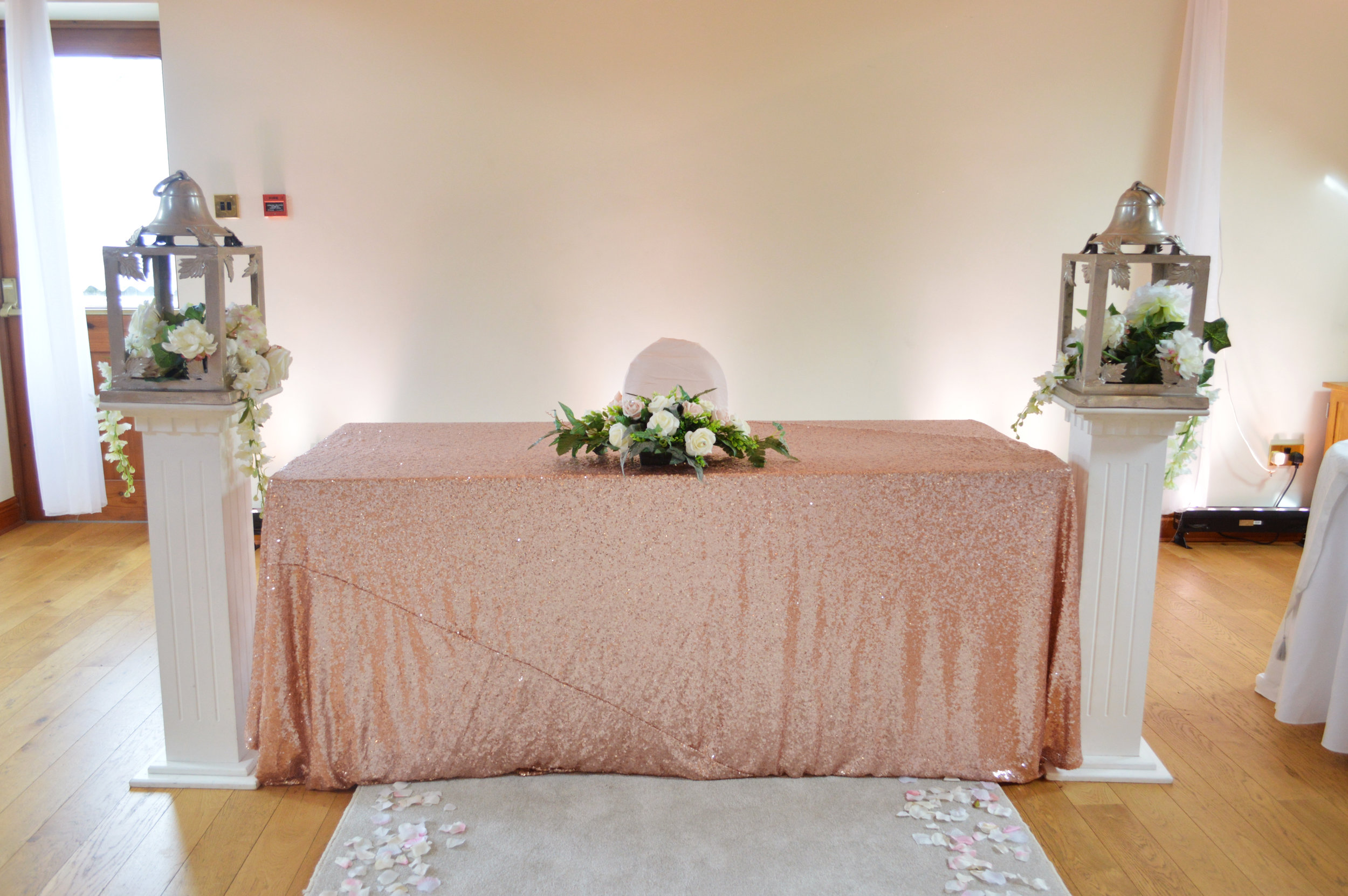 Sequin registrar table cloth