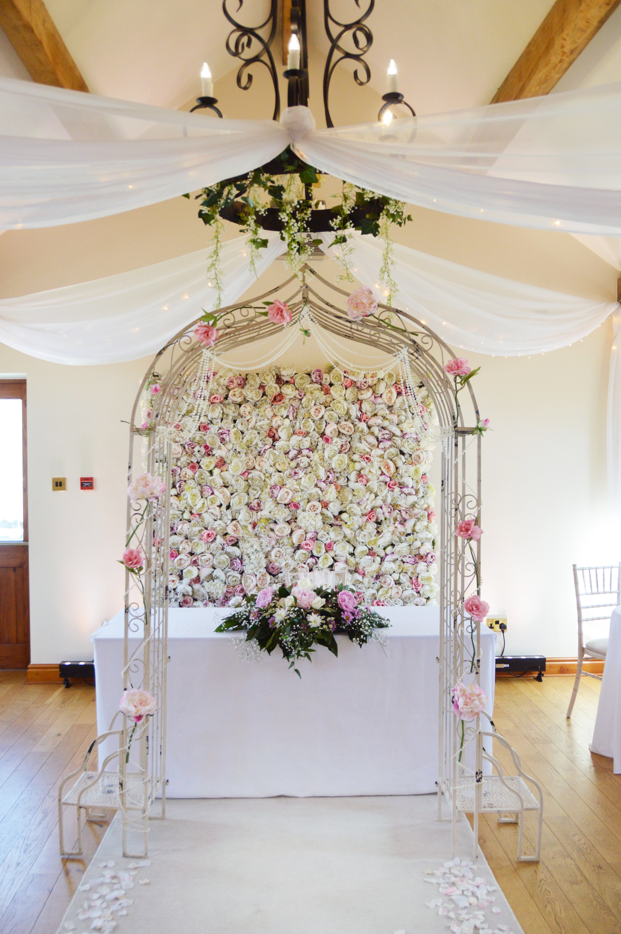 Flower wall and arch way