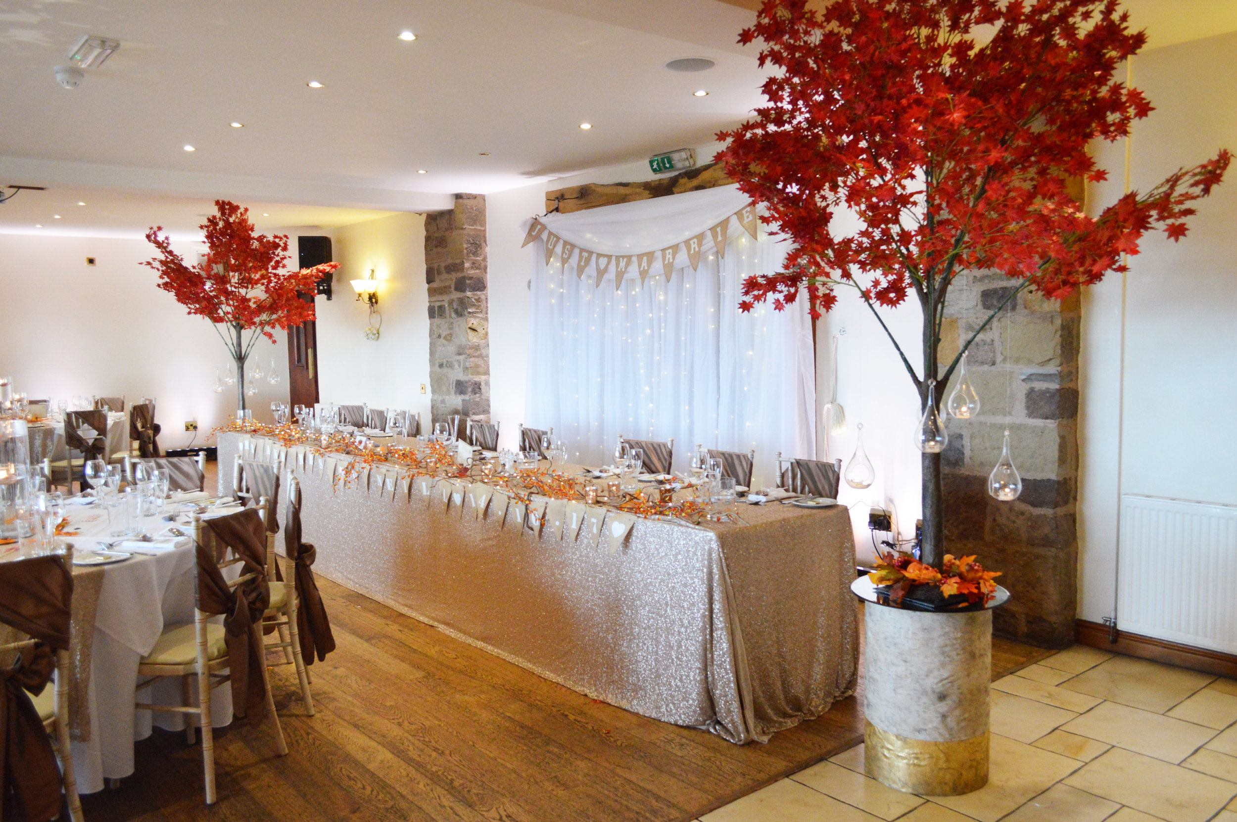 Red trees and top table sequin cloth