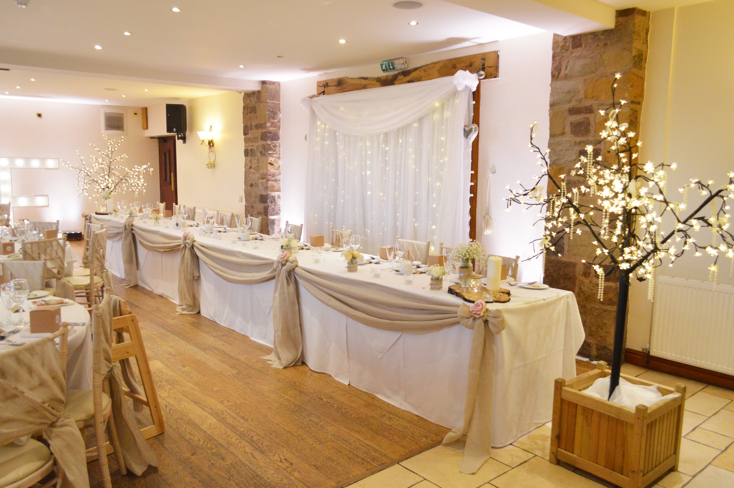 Fairy light trees and top table drape