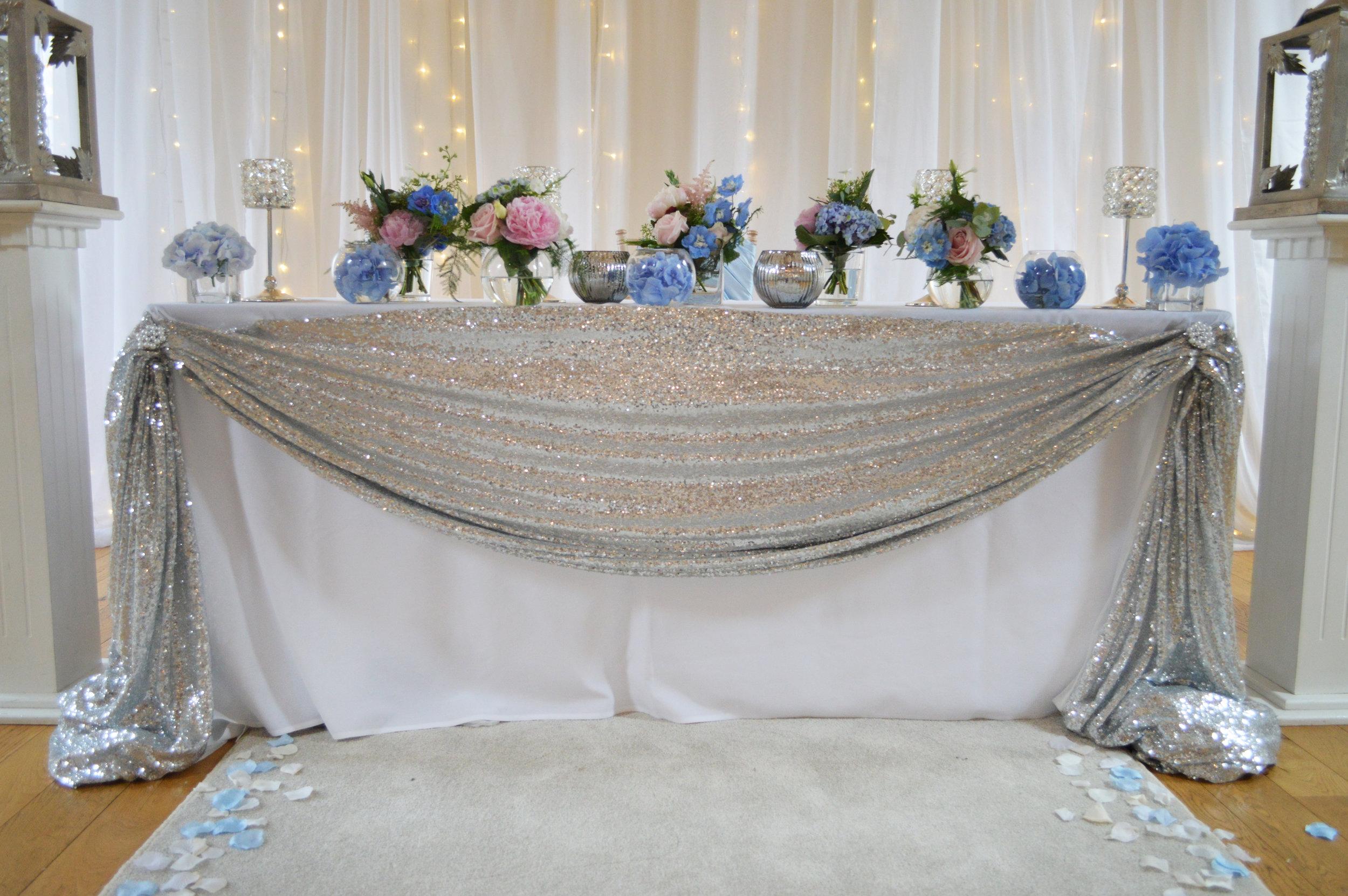 Registrar table sequin drape