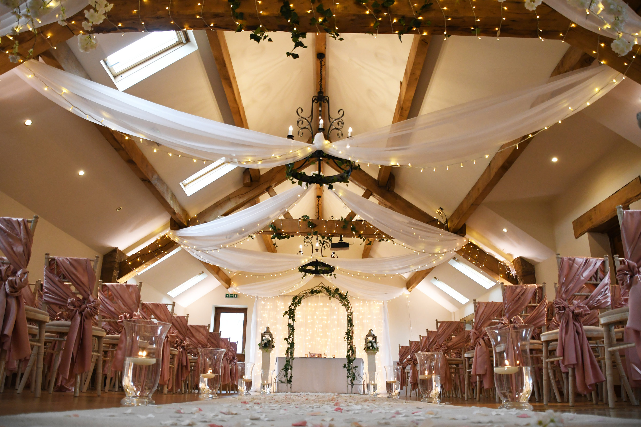 Fairy light around the beams in the Oakland Room