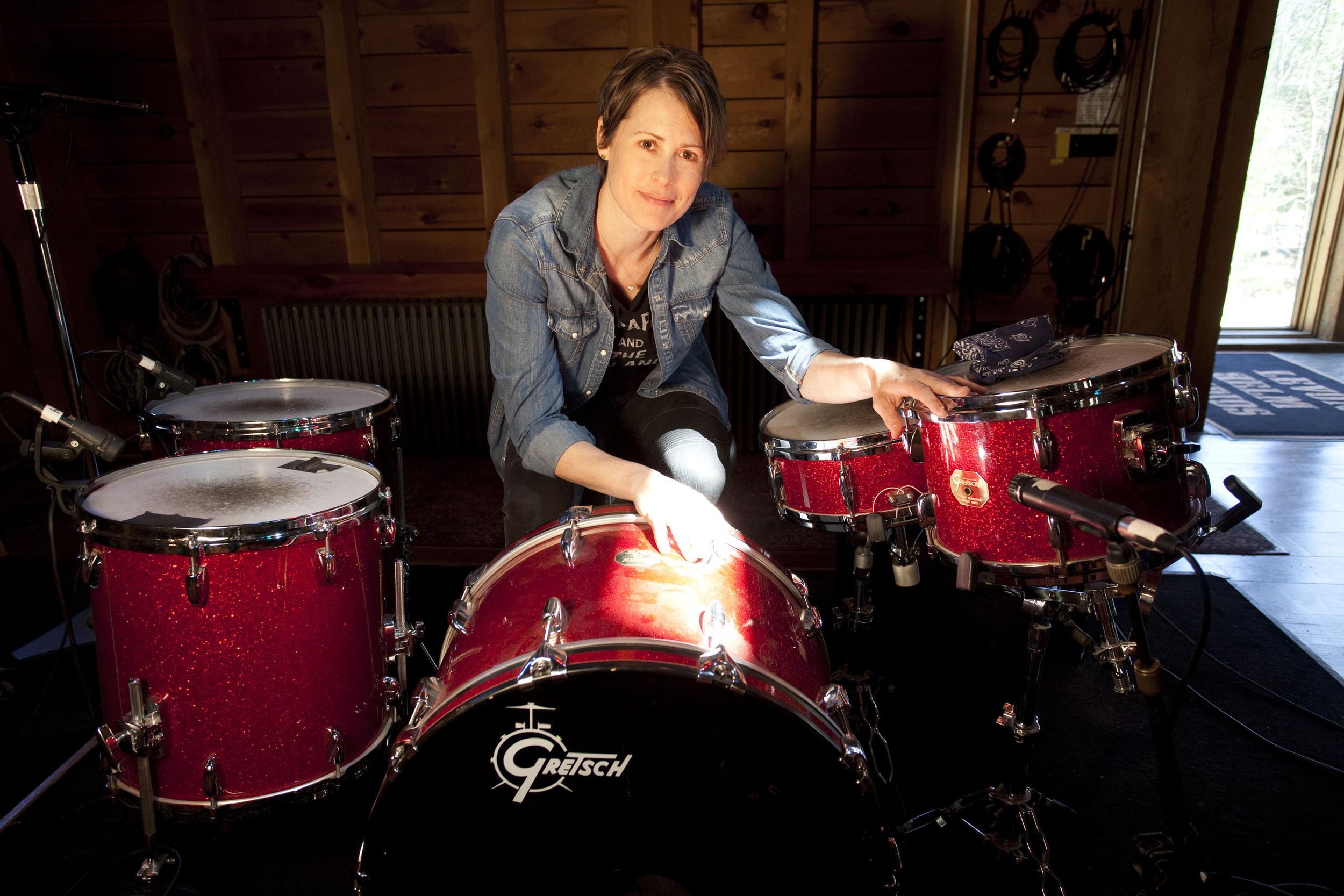 at Levon Helm's drum kit