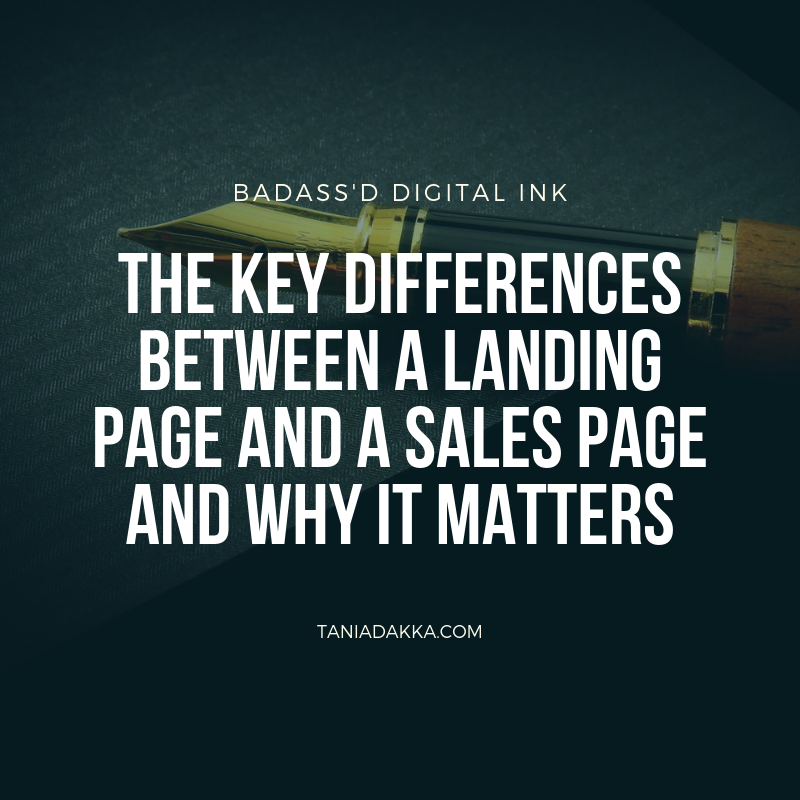 The difference between a landing page and a sales page