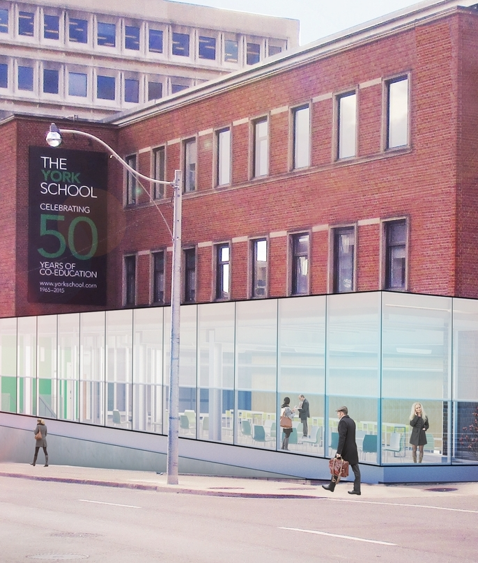 In September 2017, the former front of the school will house York Cafe + Lounge.