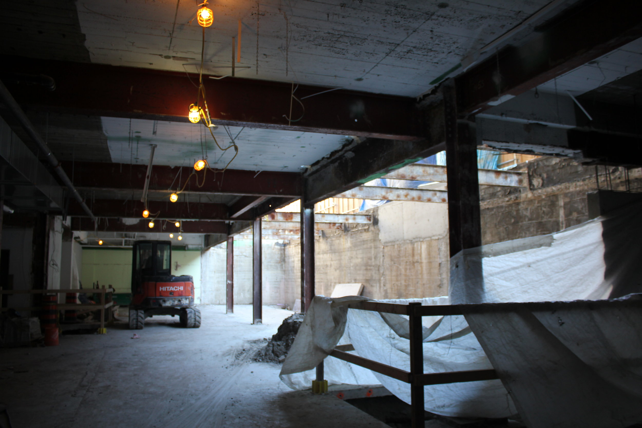 In Fall of 2017, visitors to The York School will enter the reception area from the south end of 1320 Yonge Street, immediately entering a large common area with a performance stage and Learning Commons. The floor has been prepared and the extensive electrical wiring and cabling is being completed to begin the ceiling and wall construction.