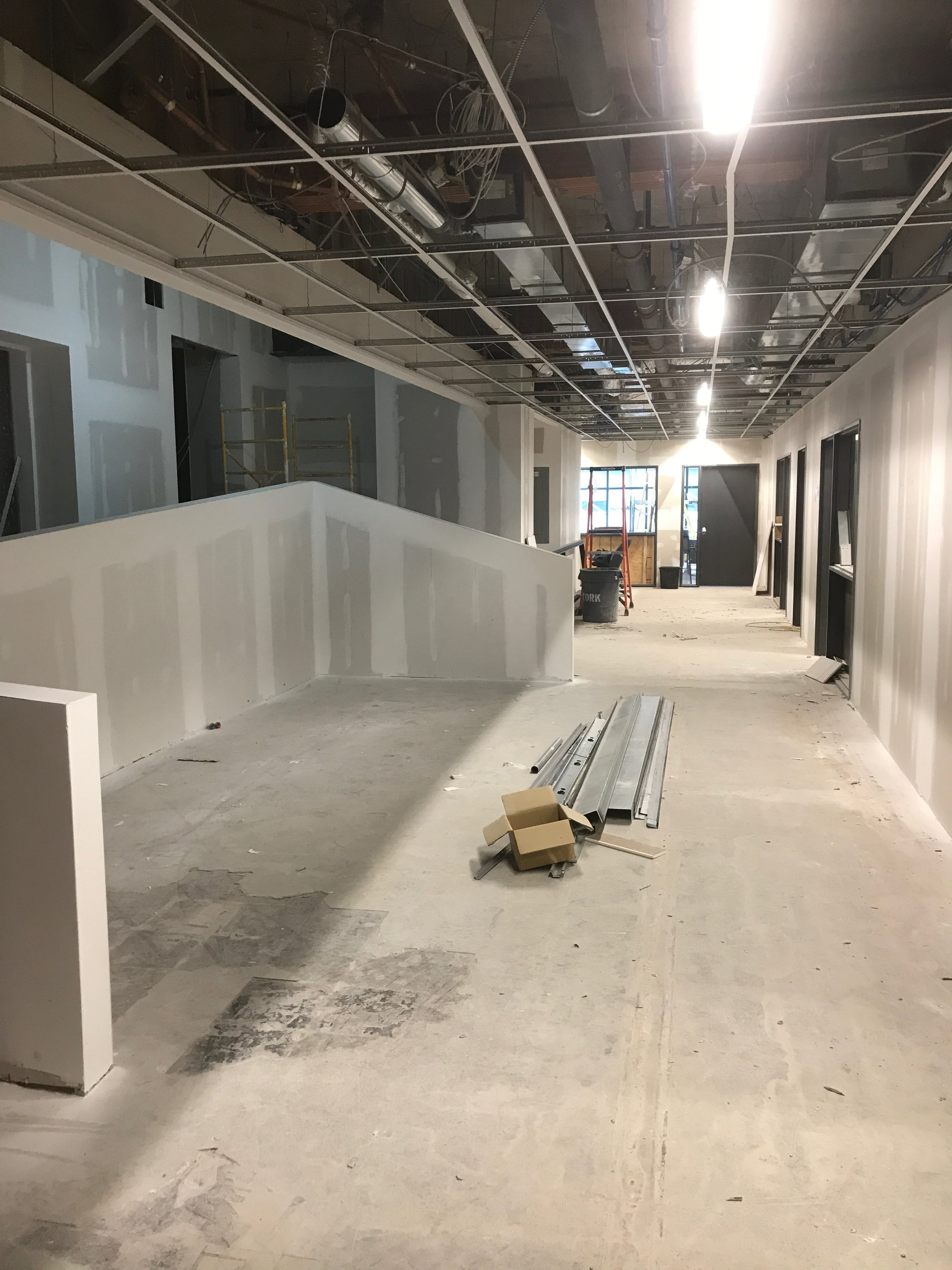 On the second floor, our IB Science Labs are quickly taking shape. Outside, cafe seating will be installed to allow small student groups to work collaboratively and socialize.