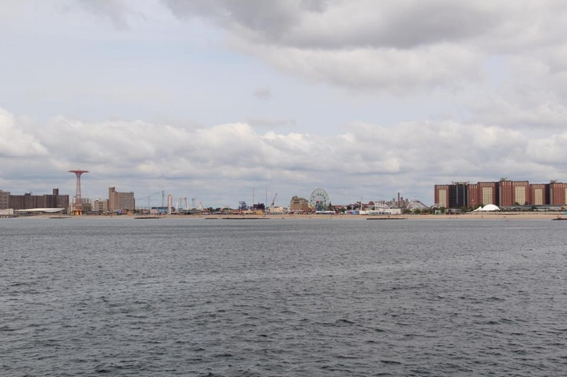 The view from the ferry as it zooms past Coney Island.