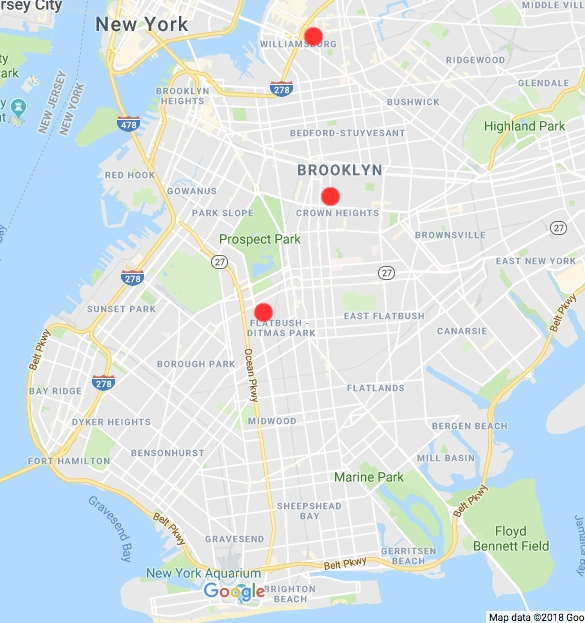 The locations of the families' roots, in Brooklyn historic neighborhoods.