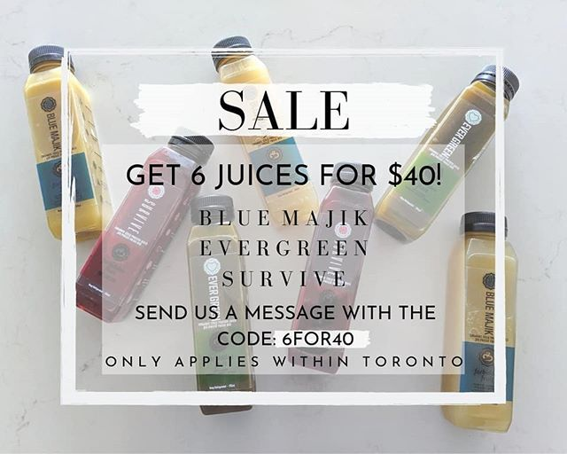 Nice sunny days calls for some fresh juice! Get 6 juices for $40 by sending us a message with the code 6FOR40!⠀ Flavors available:⠀ Blue Majik⠀✨ Evergreen⠀🍃 Survive⠀♥️ -⠀ -⠀ -⠀ #forbiddenfruitjuice #coldpressed #coldpressedjuice #healthyliving #healthylifestyle #eatfresh #cleaneating #juicecleanse #veganfoodshare #holisticliving #vegan #localsupport #cleanse #fruits #fruitjuice #drinks #sustainable #sale #toronto #torontoeats #torontofoods #canada #eastyork #thesix #rawfood #discoveryourmajik #discoveryourstregnth #discoveryourgreen #torontosale #torontolife⠀