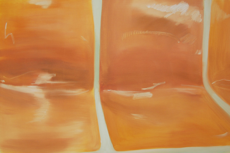 Aglaé Bassens.  Orange On The R . Oil on canvas. 24 x 36 in.