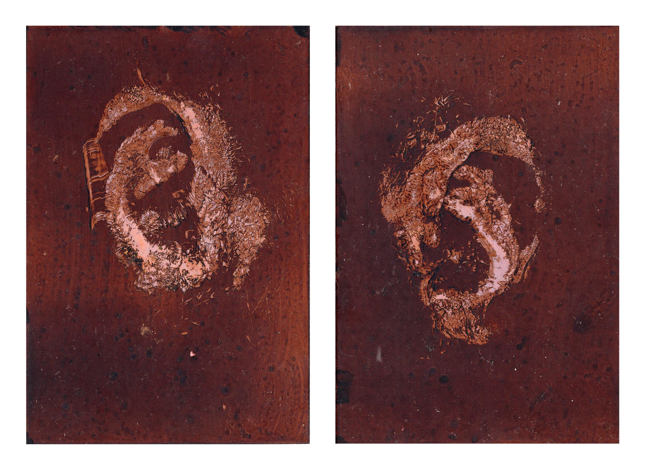 Selva Aparicio.  Gentle Transaction I,  2018. Oil of cadaver #86 on copper plate. 7 x 5 in.