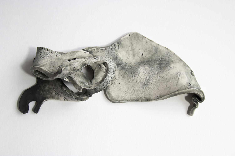 Gabriela Vainsencher.  Vestigial Tail, Amphora, Neck, Neck, Neck , 2018. Paper porcelain and underglaze. 11 x 6 x 4 in.