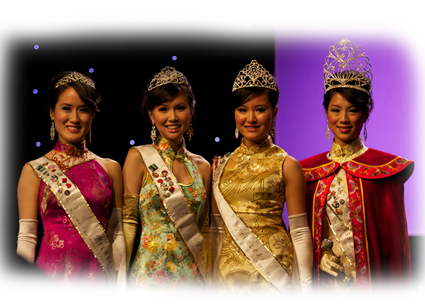 From left to right : Fourth Princess Alysha Chan, Third Princess Ashley Fong, Second Princess Jane Sha, and Queen & Miss Friendship Xiayi Shirley Zhang