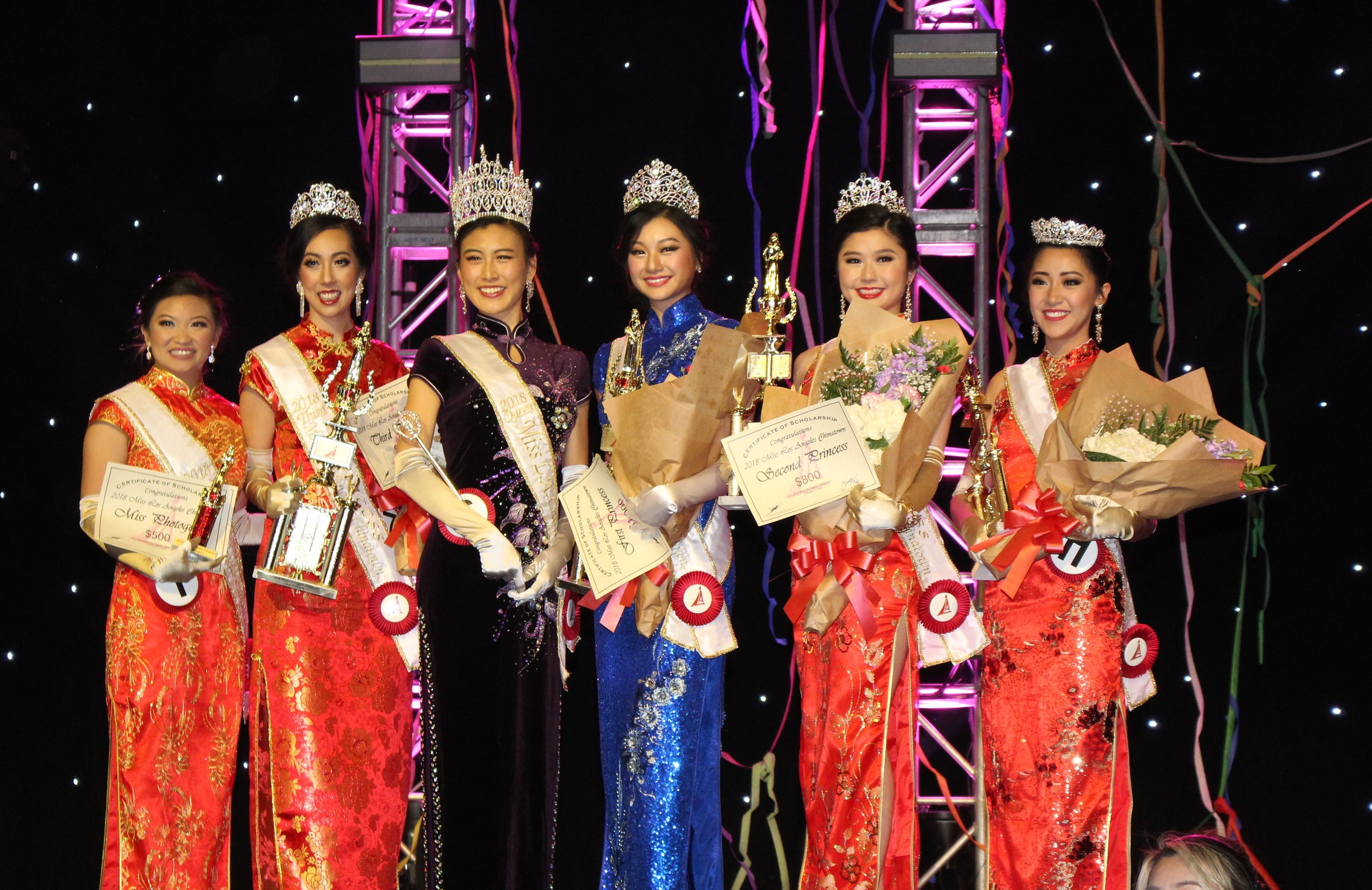 From left to right:  Miss Friendship & Miss Photogenic Sally Yu, Third Princess Jaclyn Perry, Queen Catherine Liang, First Princess Joyce Lam, Second Princess Jasmine Lam, and Fourth Princess & Miss Friendship Anna Wu