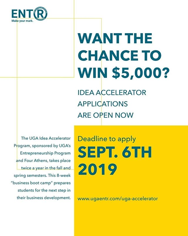 It's your last day to apply for the Idea Accelerator. Don't forget! This is a great opportunity for anyone wanting to develop a business idea. • Also, a reminder that our welcome back social is tonight (9/5) from 6-8 PM at Studio 225 (225 W. Broad Street)!