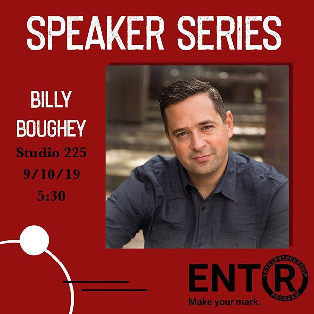 Join us tomorrow at 5:30 to hear @billyboughey share his entrepreneurial journey! Not to mention FREE FOOD! #entrepreneurship #billyboughey #ugaentr #freefood #speakerseries