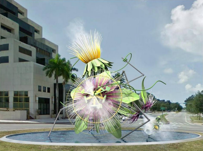 Artist rendering. The two sculptures by Alice Aycock, depicting passion flowers, which celebrate Coral Gables' roots as a Garden City, will be installed at Segovia Traffic Circles at Coral Way and Biltmore Way.