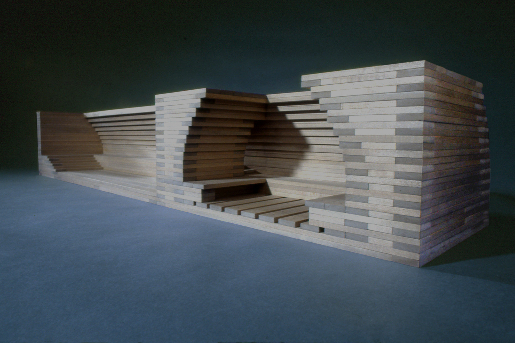 Gray Pool House , 1993, Basswood, 7 1/2 x 42 x 9 inches