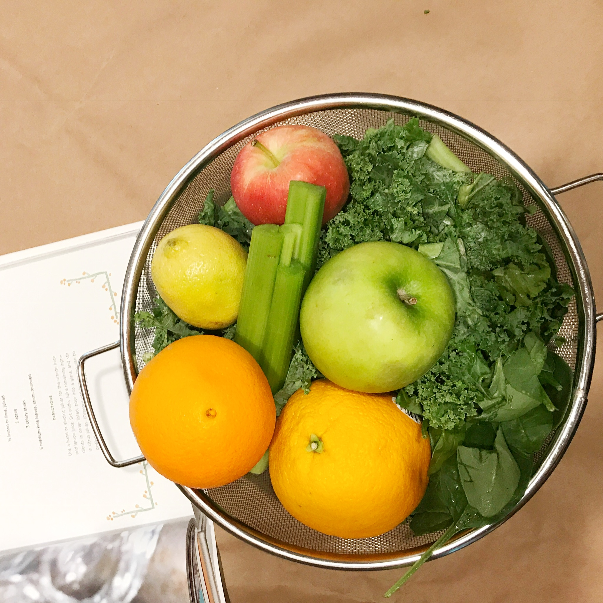 Our Recipe - Pineapple, kiwi, green apple, orange and/or lemon, celery, spinach, kale/collards.