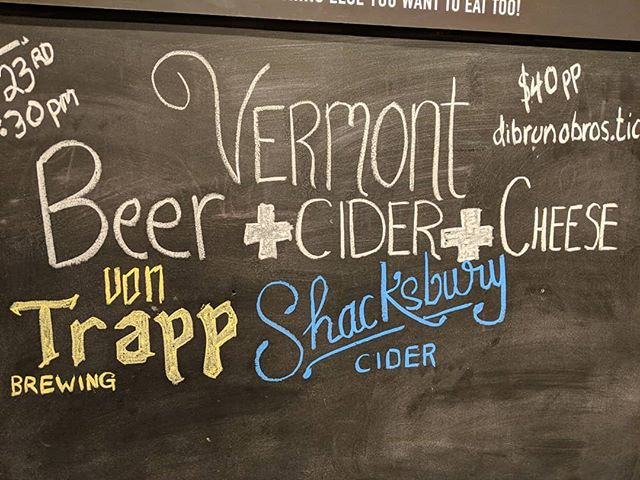 Tuesday January 23rd 6-7:30pm 6 Vermont cheese paired with @shacksbury cider and @vontrappbrewing beer. $40 per person seats are limited. Link in the description.