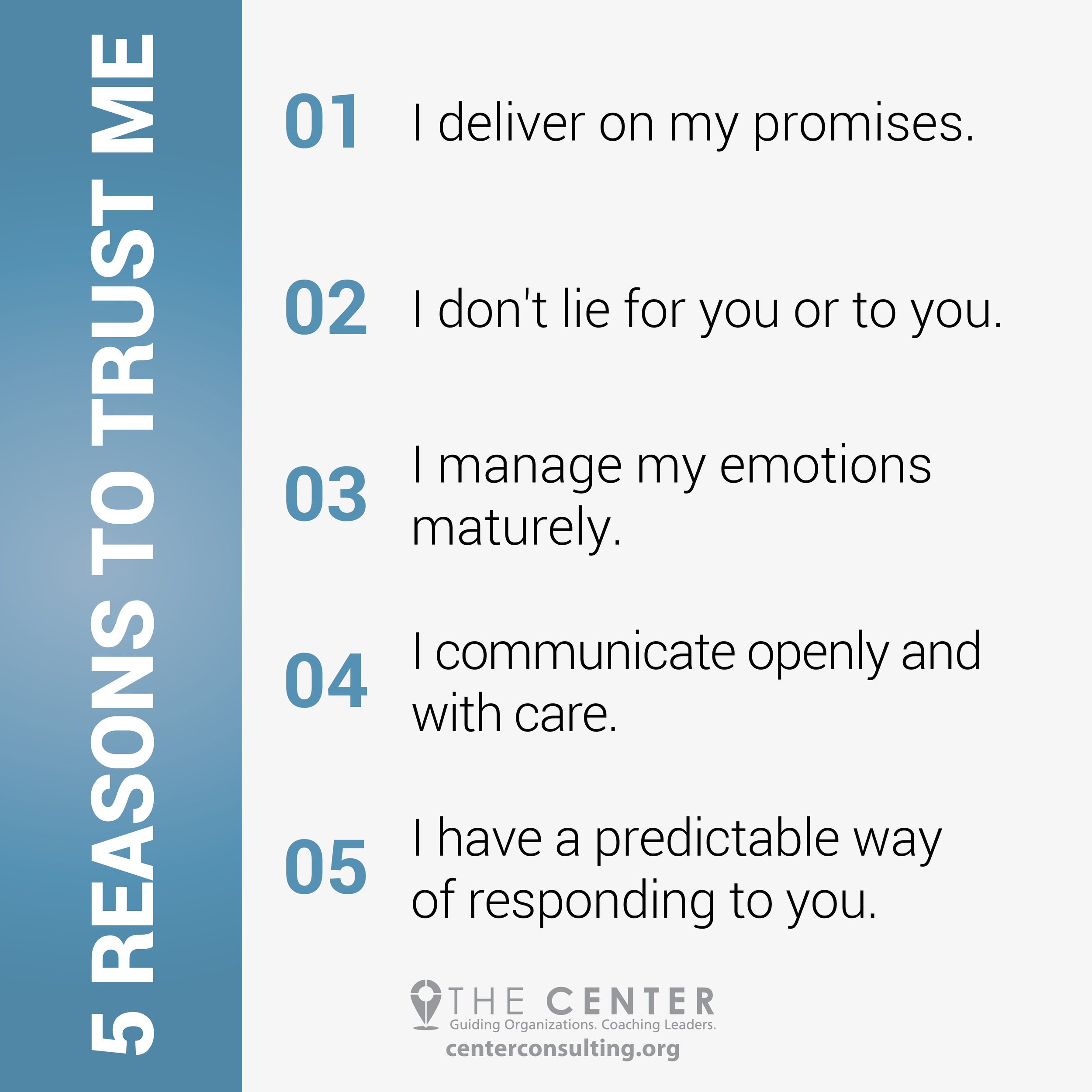 5 Reasons to Trust Me - The Center Consulting Group - Leadership Coaching and Consulting