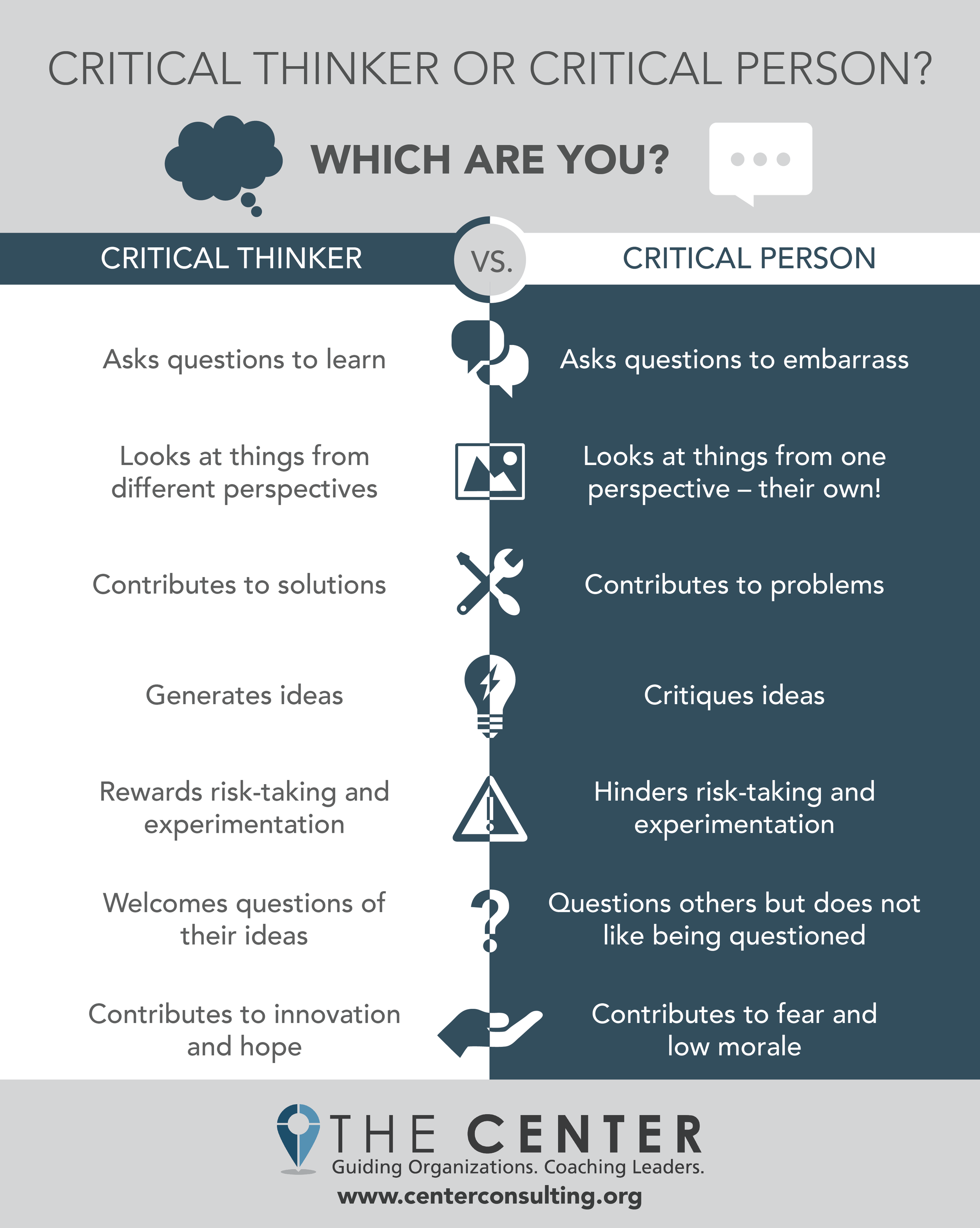 Critical Thinker Vs. Critical Person: Which are you? [Infographic] - The Center Consulting Group - Leadership Coaching and Organizational Consulting for Businesses, Churches, and Non-Profits
