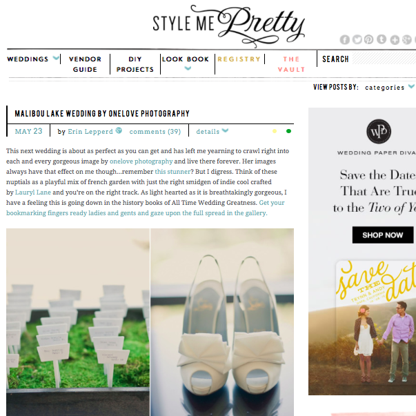 Malibu Lake | Style Me Pretty   May 23, 2011-   Read Article