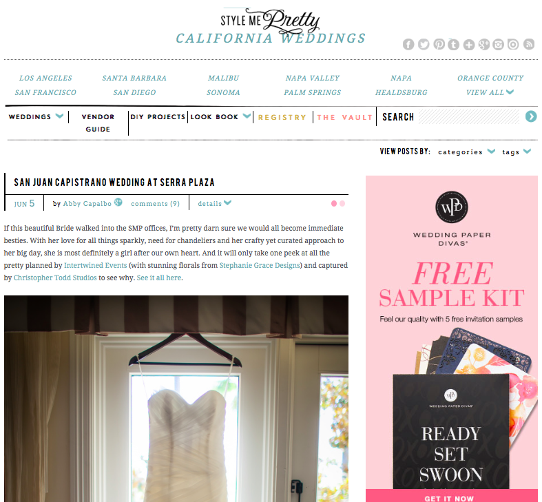 San Juan Capistrano Wedding at Serra Plaza | Style Me Pretty   Jun. 5, 2014-   Read Article