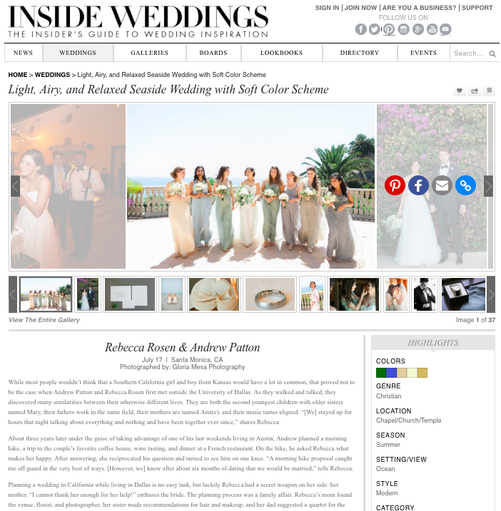 Rebecca + Andrew | Inside Weddings   July 17, 2016-   Read Article
