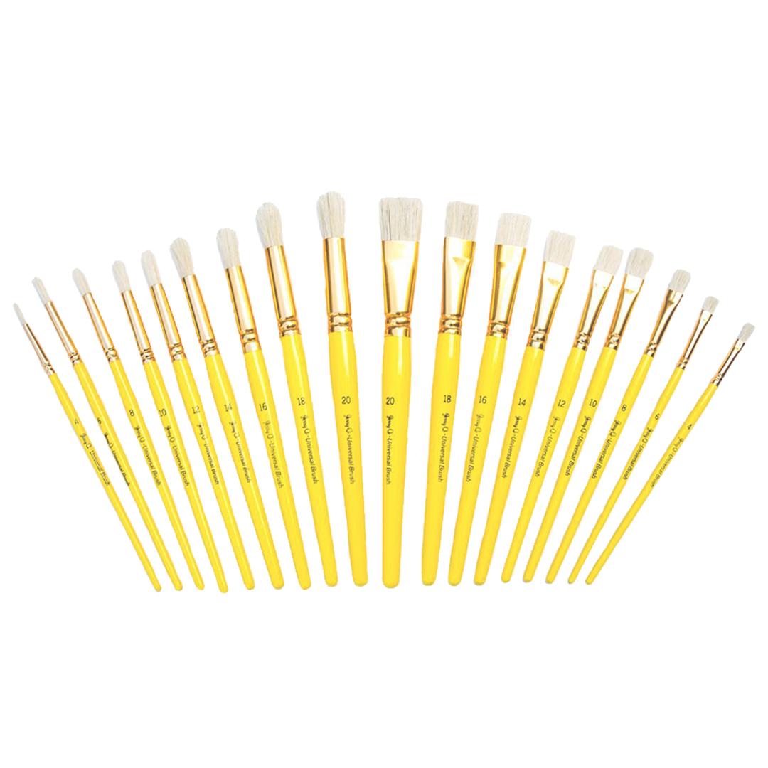 Short Wood Handles JQ181 Jerry Q Art 18 pcs Pure Natural Hog Bristle Brush Set for Oil Tempera Acrylic