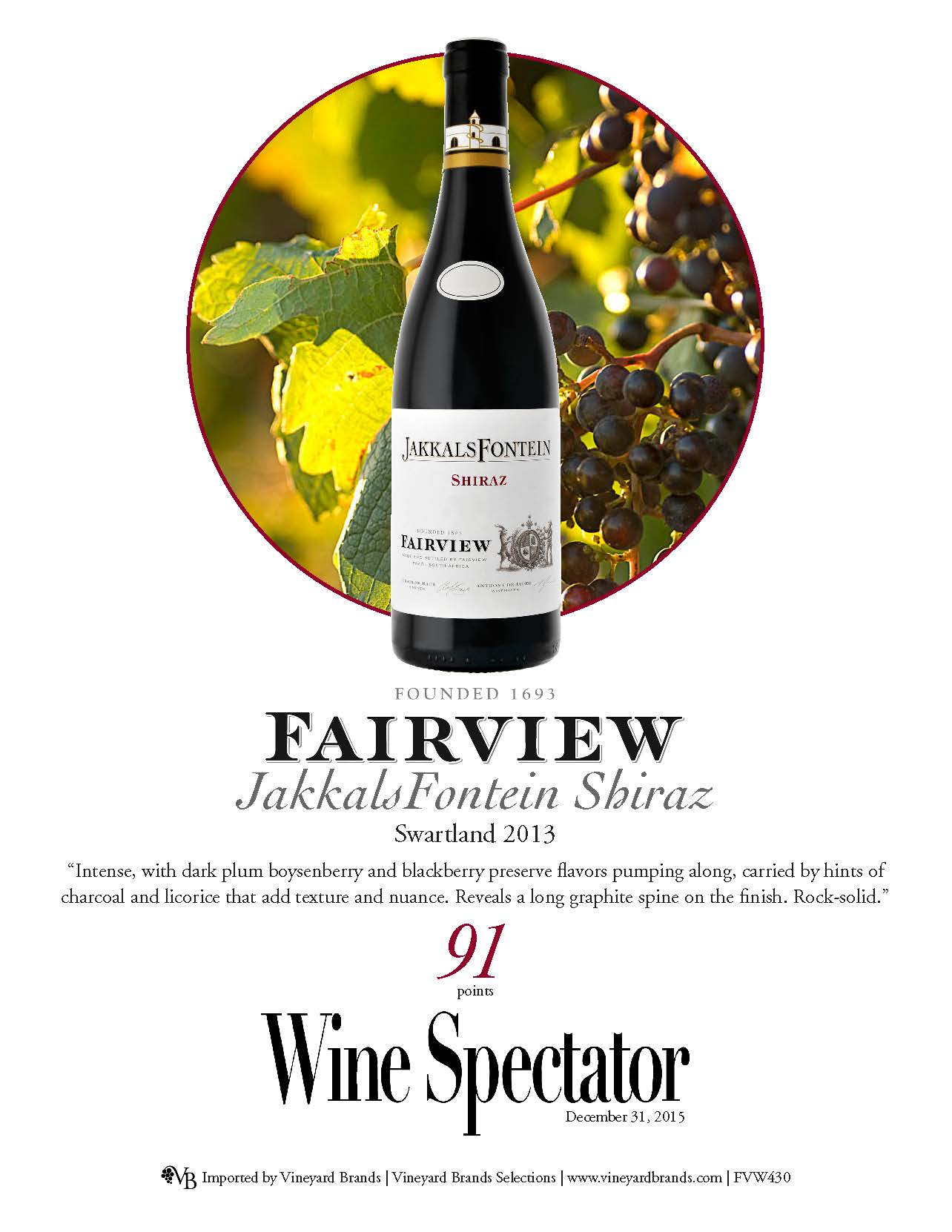 Fairview Jackals Fontein Shiraz